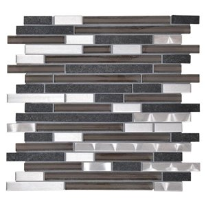 American Olean Loren Place 12-in x 12-in Glass and Metal Random Mosaic Wall Tile