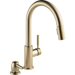 DELTA Trask Single Handle Pull-Down Kitchen Faucet with Soap Dispenser- Champagne Bronze