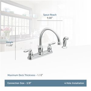 Moen Caldwell Chrome 2-Handle Deck Mount High-Arc Kitchen Faucet