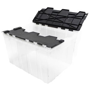 GSC Technologies 49L Clear Tote with Black Hinged Lid