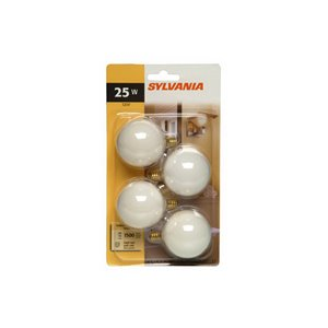Sylvania 16383 Clear 25-Watt G16.5-Shape Candelabra Base CFL Bulb