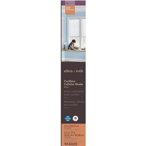 allen + roth 23-in W x 72-in L White Light Filtering Cordless Polyester Cellular Shade