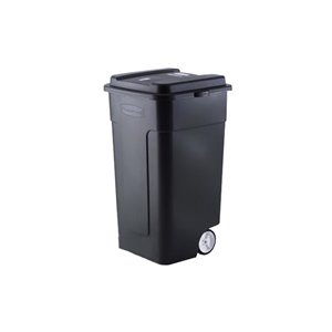Rubbermaid FG285100 189L Wheeled Outdoor Refuse Container in Black