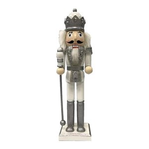 Holiday Living 15-in Silver/White Nutcracker