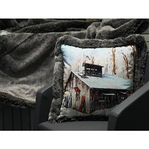 Holiday Living 18-in Snowy Cabin Cotton Pillow