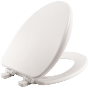 Mayfair Elongated High Density Enameled Wood Toilet Seat (White)