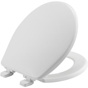 Mayfair Slow-Close White Solid Plastic Round Toilet Seat with STA-TITE