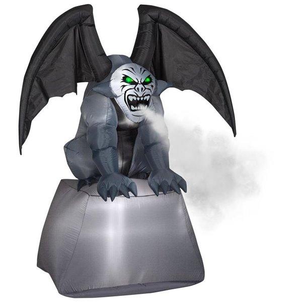 Gemmy 6.9-ft Purple Gargoyle on Pillar With Fog Effect Inflatable