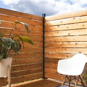 HOFT Solutions DIY 3-in x 72-in Black Aluminum Fence Post