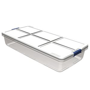 Hefty 52-qt Clear White Underbed Tote with Latching Lid