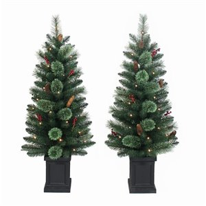 2-Pack 4-ft Warm White LED Porch Tree