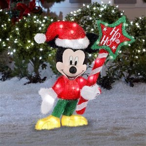 31-in White Incandescent Freestanding Tinsel Mickey Mouse