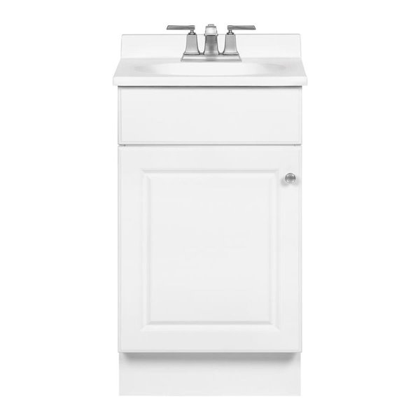 Project Source 19 In X 17 In White Integral 1 Bathroom Vanity With Cultured Marble Top Lowe S Canada
