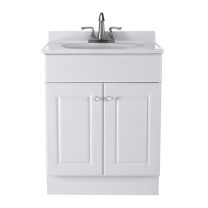 Project Source White Integral 1 Bathroom Vanity with Cultured Marble Top (Common: 25-in x 19-in; Actual: 24.5-in x 18.5-in)