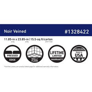 American Villa Noir Black veined Porcelain Marble (Common: ; Actual: 23.85-in x 11.85-in)