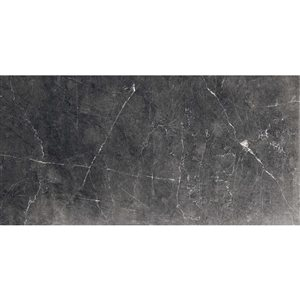 American Villa Noir Black veined Porcelain Marble (Common: ; Actual: 11.85-in x 5.93-in)