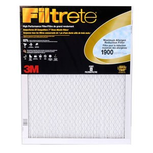 3M 20-in x 16-in x 1-in 1900 MRP Maximum Allergen Reduction Electrostatic Pleated Air Filter
