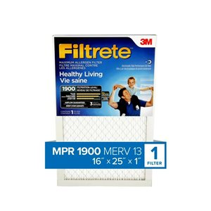 3M 16-in x 25-in x 1-in 1900 MRP Maximum Allergen Reduction Electrostatic Pleated Air Filter