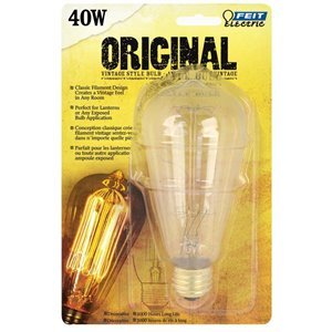 Feit Electric 40-Watt/220 Lumens Medium Base (E-26) Dimmable Edison S Incandescent Light Bulb (1-Pack)