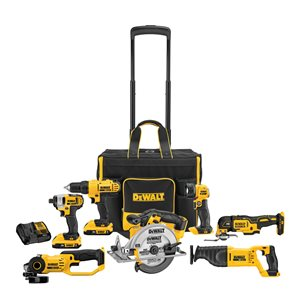 Dewalt 20V MAX Cordless 7-Tool Combo Kit with Large Rolling Contractor Bag DCKSS721D2