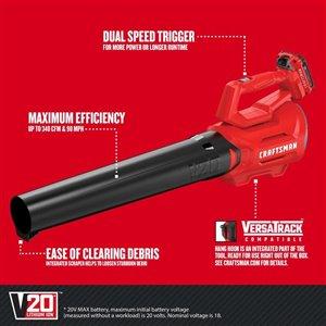 CRAFTSMAN V20 20-Volt Max 340-CFM 90-MPH Cordless Electric Leaf Blower