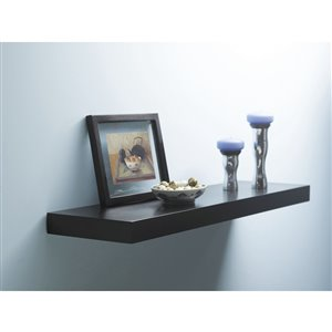 Style Selections 35.4-in W x 1.5-in H x 7.87-in D Black Wood Wall Mounted Shelf
