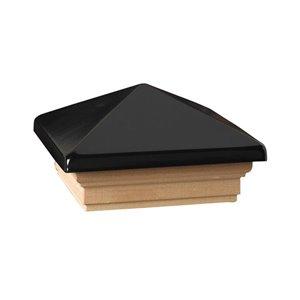 Deckorators (Fits Common Post Measurement: 4-in x 4-in; Actual: 5.63-in x 5.63-in x 3.1-in) Black Plastic Pine Deck Post Cap