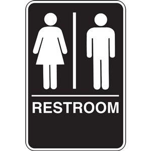 Hillman 9-in x 6-in Unisex Restroom Sign