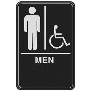 Hillman 9-in x 6-in Men Handicap Accessible Restroom Sign