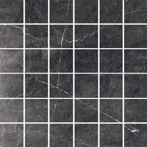 American Villa Noir Black veined Uniform squares Mosaic Porcelain Marble (Common: ; Actual: 11.73-in x 11.73-in)