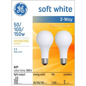 GE 50-100-150-Watt Medium Base A21 Incandescent Light Bulb (2-Pack)