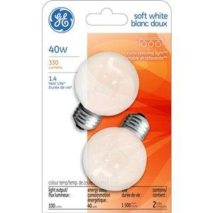 GE 40-Watt Medium Base G16 Incandescent Soft White Light Bulb (2-Pack)