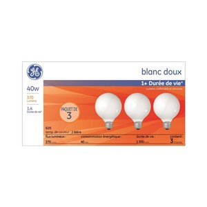 GE 40-Watt Medium Base G25 Incandescent Soft White Light Bulb (3-Pack)
