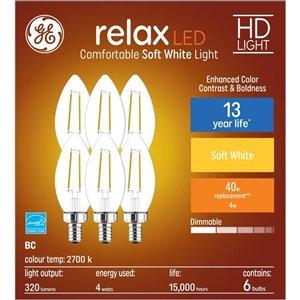 GE 40W LED B11C HD RLX CL DIM (6-Pack)