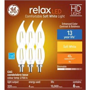 GE 40WLED CA11C HD RLX CL DIM (6-Pack)