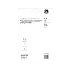 GE 60W INC CAC SOFT WHITE (6-Pack)