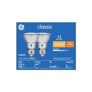 GE 8W LED PAR20 SOFT WHITE (2-Pack)