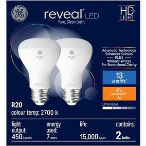 GE 7W LED R20 REVEAL (2-Pack)