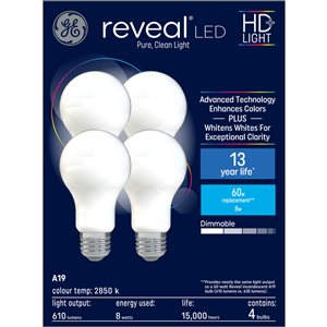 GE Reveal HD+ Colour-Enhancing 60W Replacement LED Glass Indoor General Purpose A19 Light Bulbs (4-Pack)