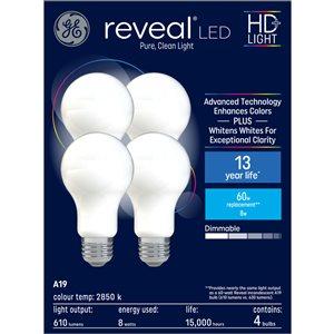 GE Reveal 8-Watt A19 LED Light Bulb (4-Pack)