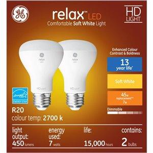 GE 7W LED R20 SOFT WHITE (2-Pack)