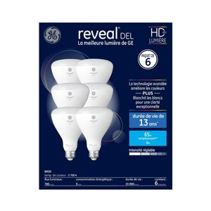 GE 9W LED BR30 REVEAL (6-Pack)