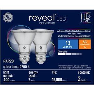 GE 7W LED PAR20 REVEAL (2-Pack)