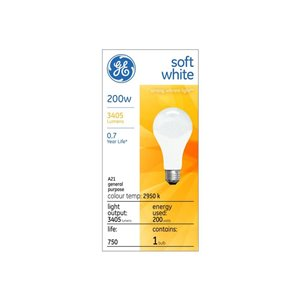 GE 200-Watt Medium Base A21 Soft White Incandescent Light Bulb