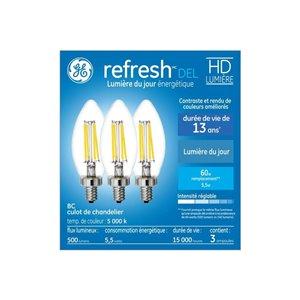 GE 60W LED B12C HD RFR CL DIM (3-Pack)