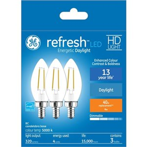 GE 40W LED B11C HD RFR CL DIM (3-Pack)