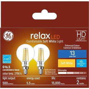 GE 60WLED G16.5C HDRLX CL DIM (2-Pack)