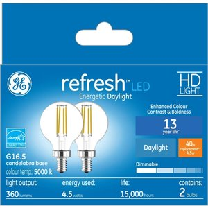 GE 40WLED G16.5C HDRFR CL DIM (2-Pack)