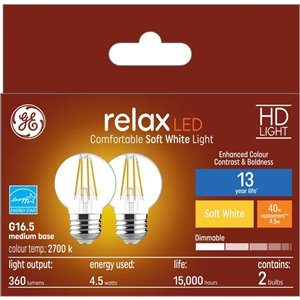 GE 40WLED G16.5M HDRLX CL DIM (2-Pack)