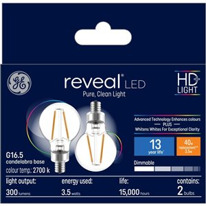 GE 40W LED G16.5C RVL CL DIM (2-Pack)